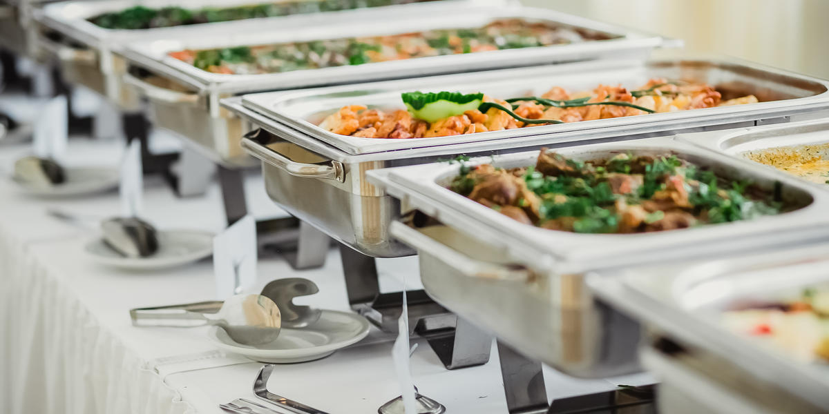 Catering food on event table